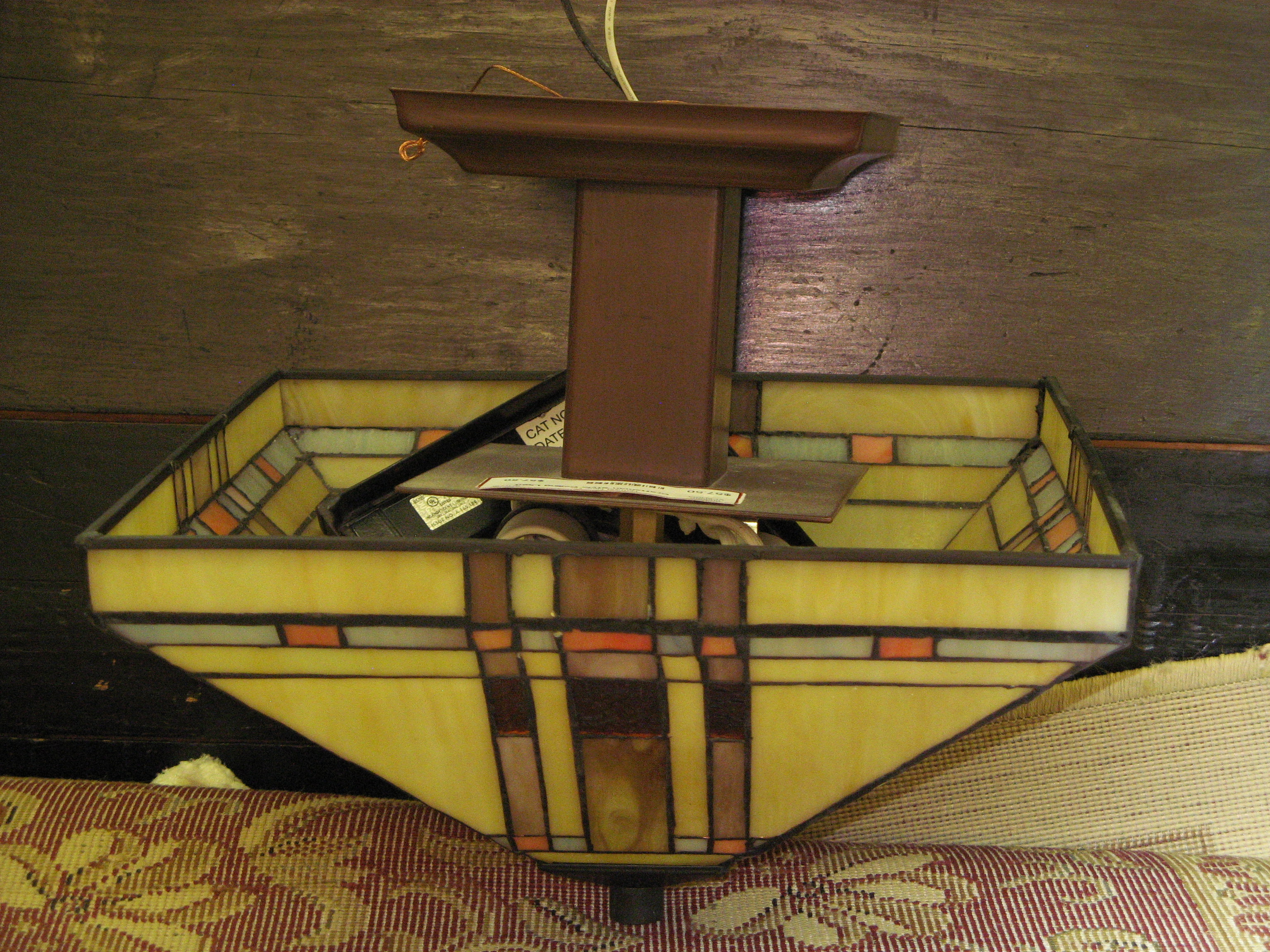 Craftsman Style Stained Glass Ceiling Light