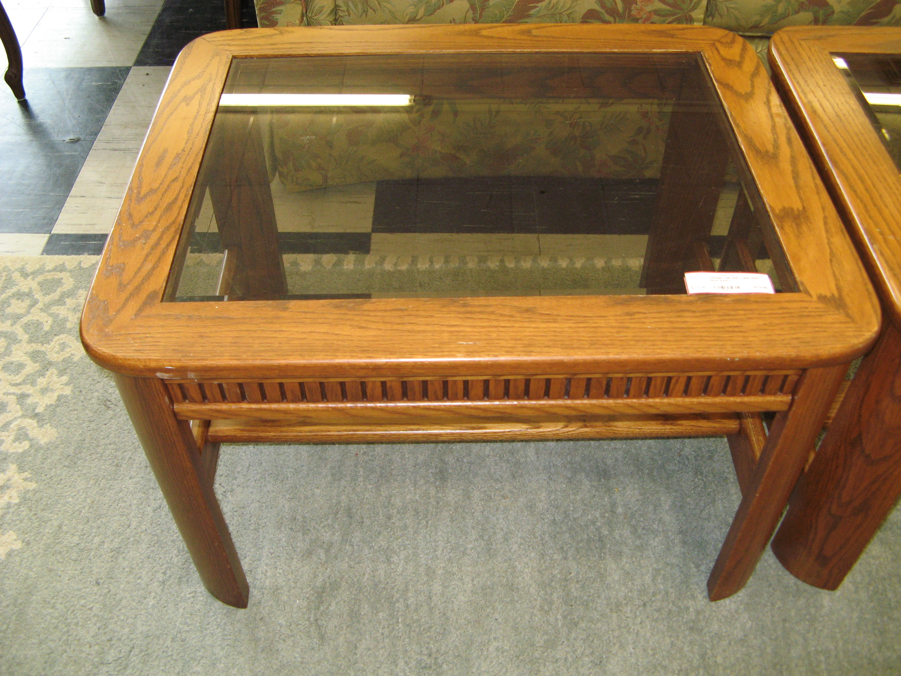 Vintage Oak Side Table with Inset Glass Top