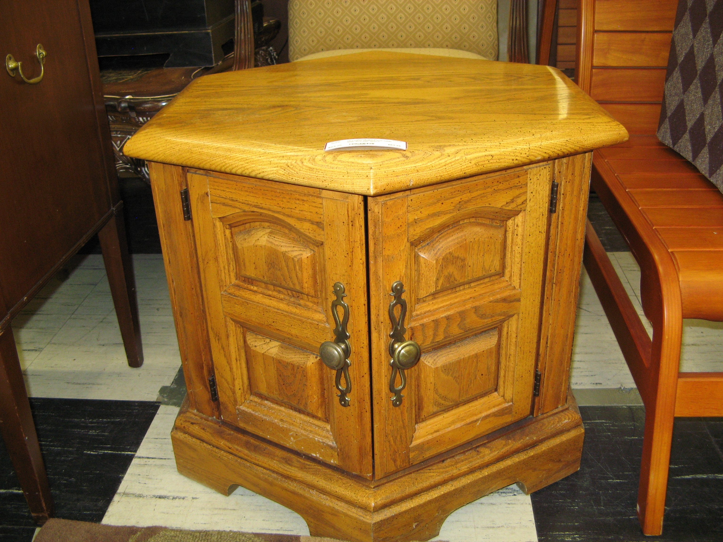 Hexagonal Oak End Table with Storage Space Inside