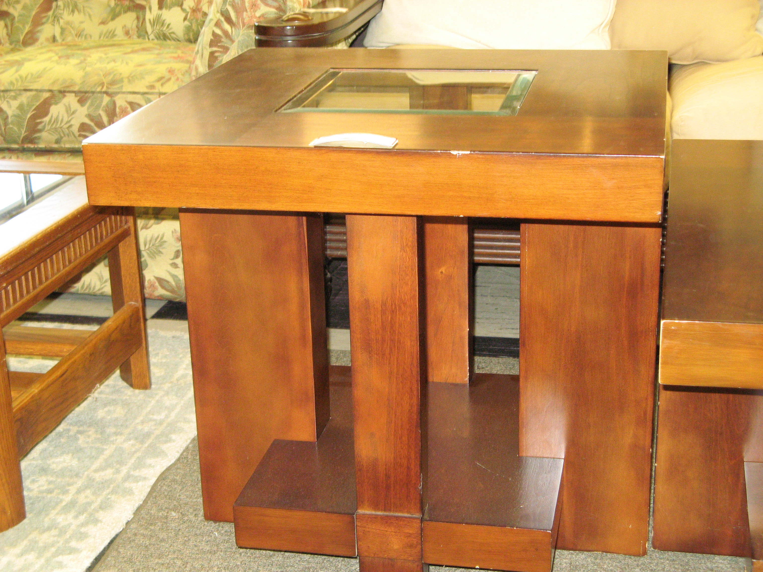 End Table with Beveled Glass Insert