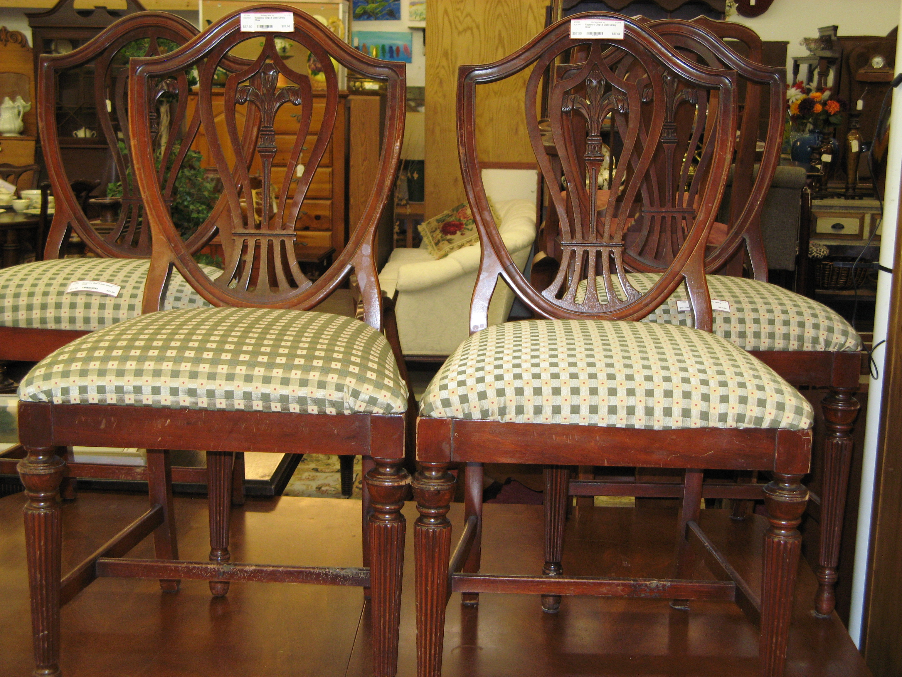 Regency Chippendale Dining Chair w/ Green Check Upholstered Seat