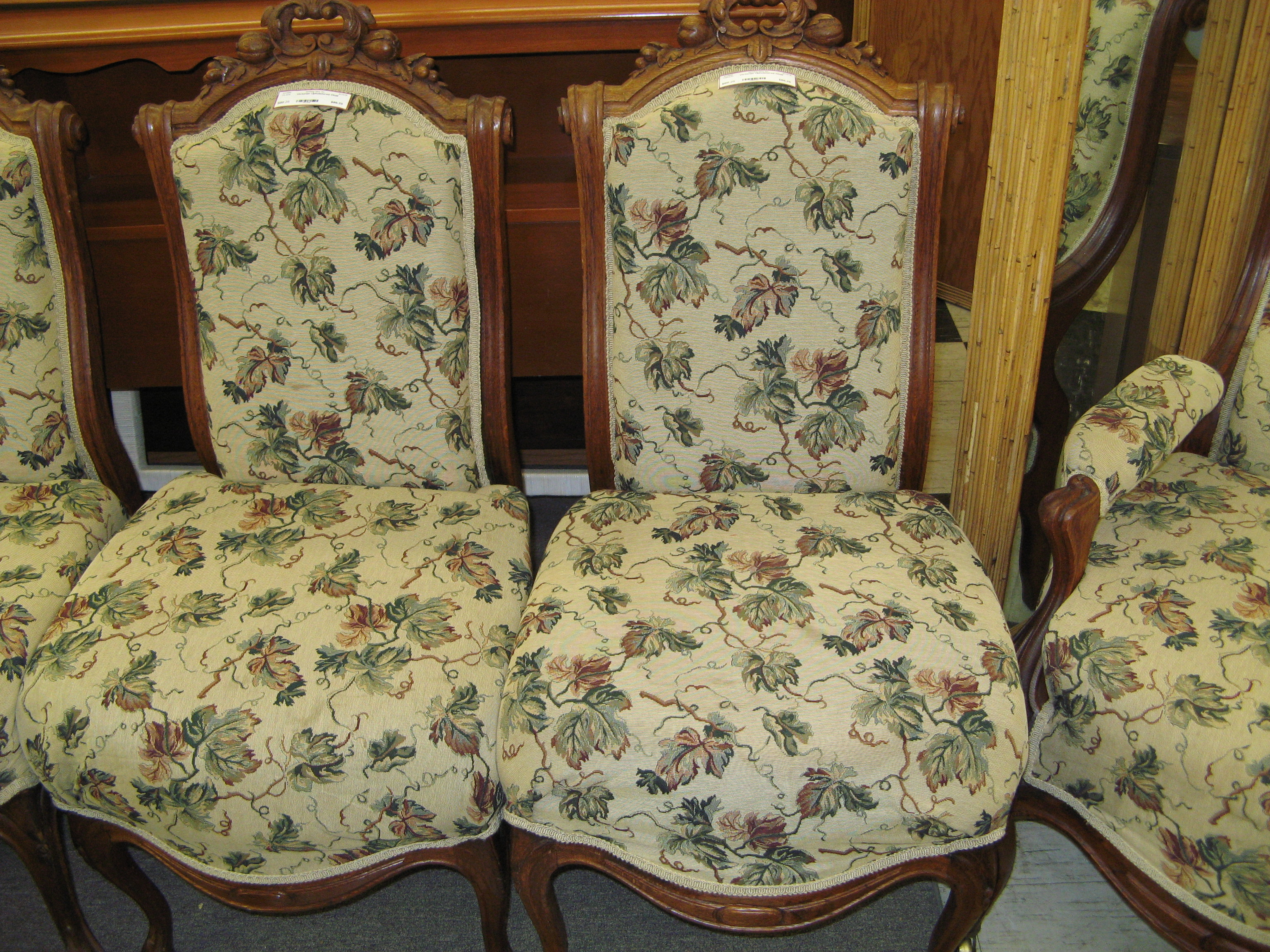 Victorian Upholstered Chair w/ Green & Brown Leaf Pattern