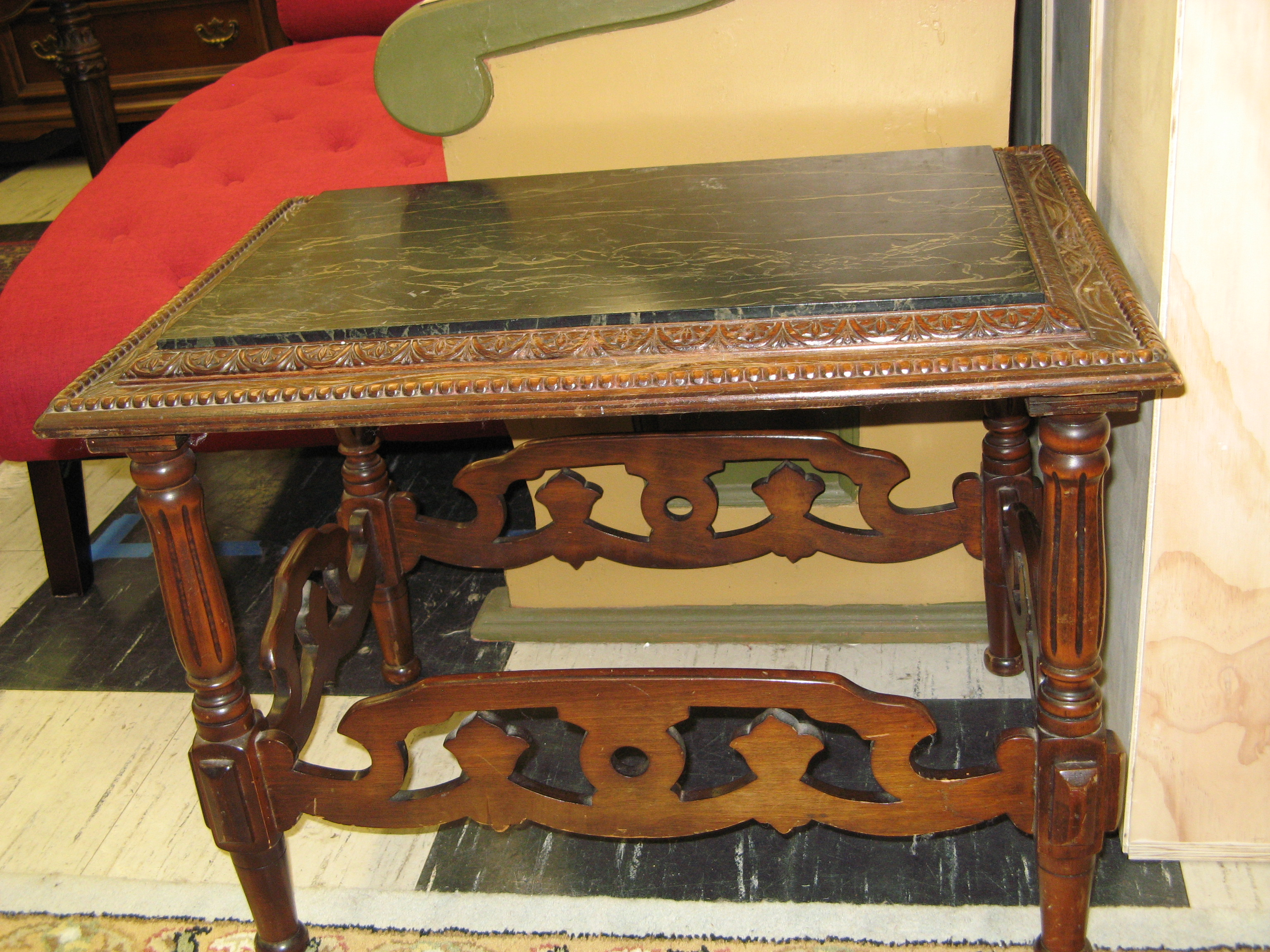 Marble Top Insert Side Table w/ Ornately Carved Perimeter & Base
