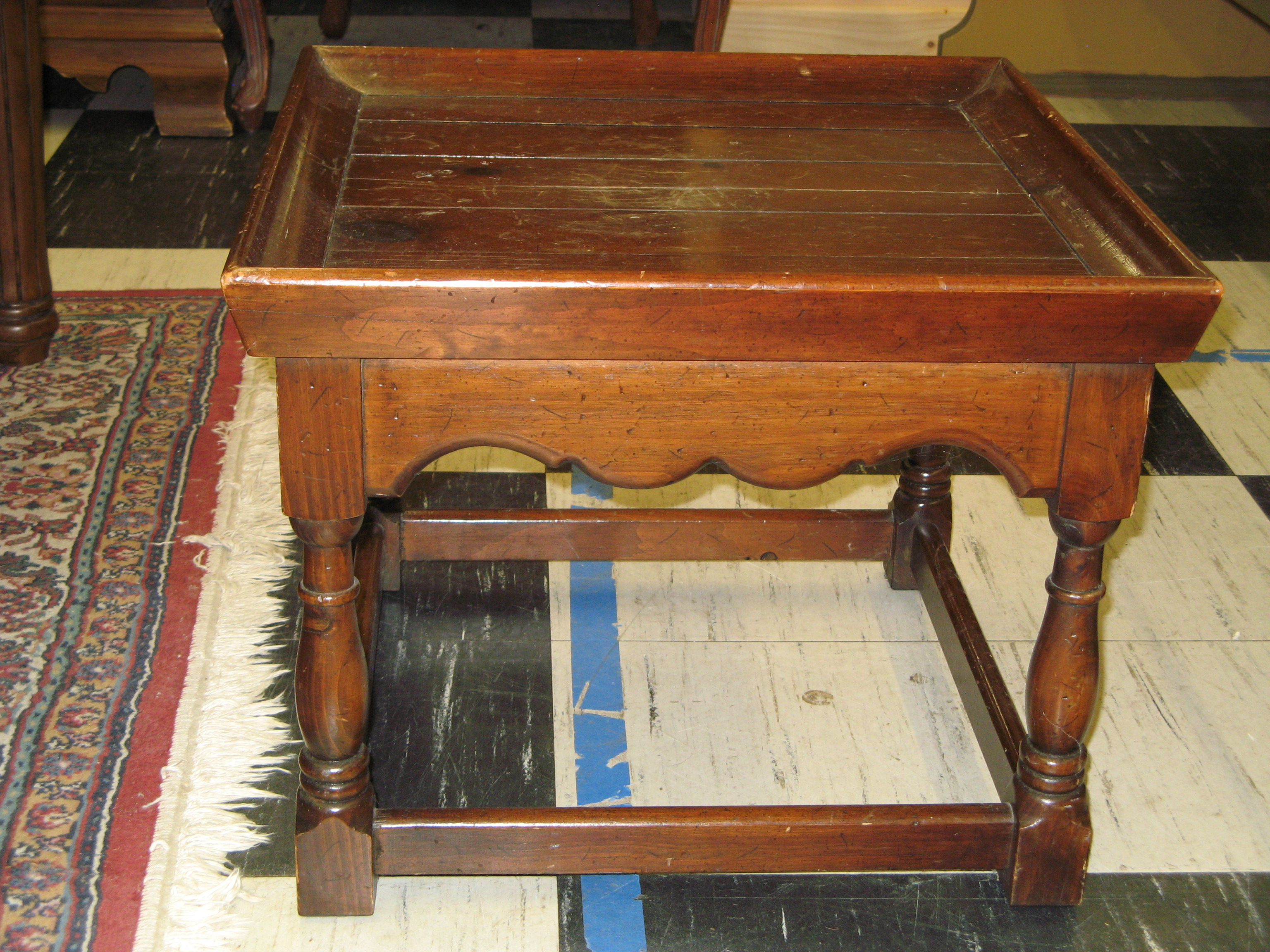 Small Wood End Table - Square Tray Top and Wood Valance
