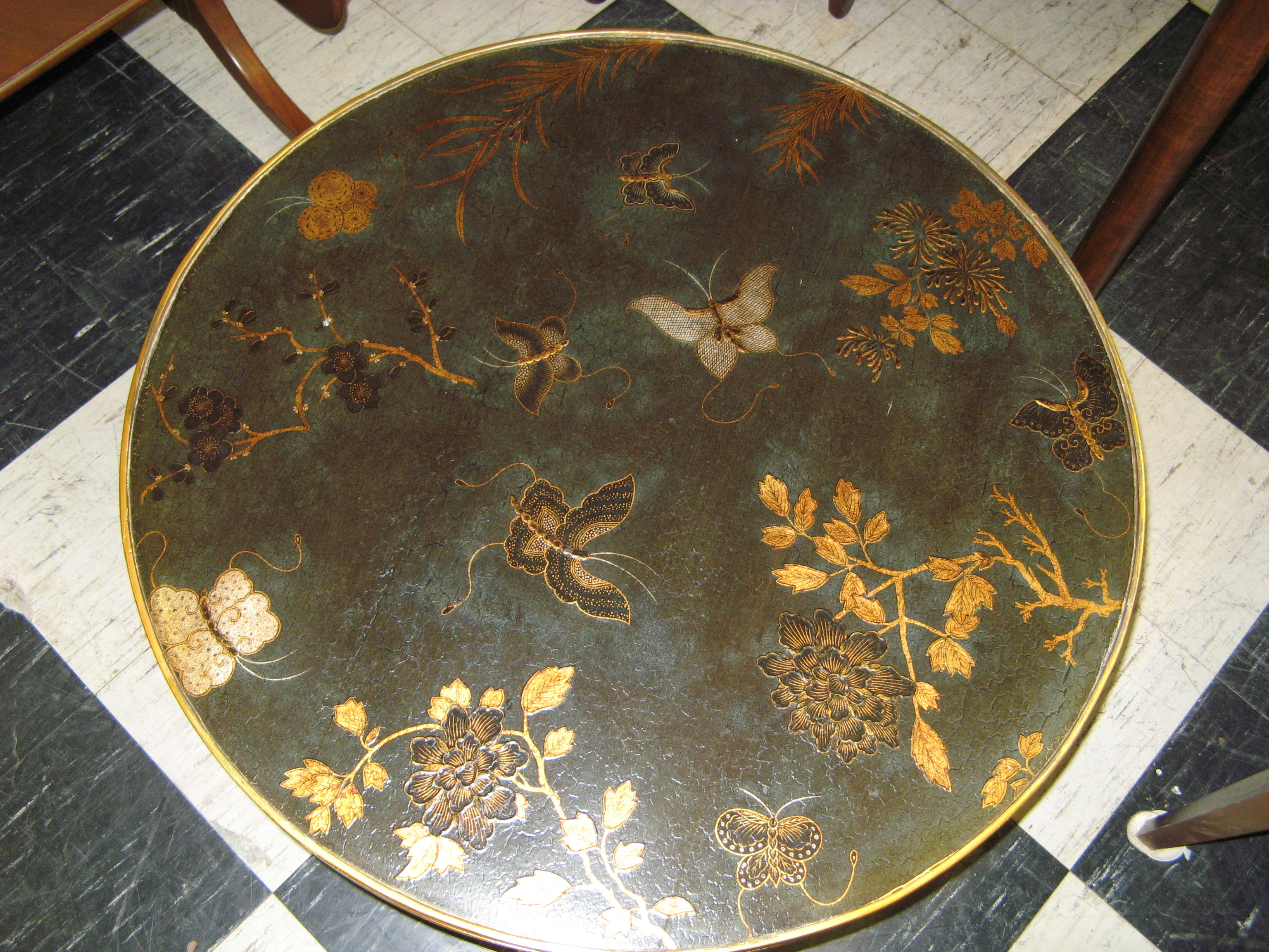 Round Black Coffee Table with Embossed Design, Asian Inspired