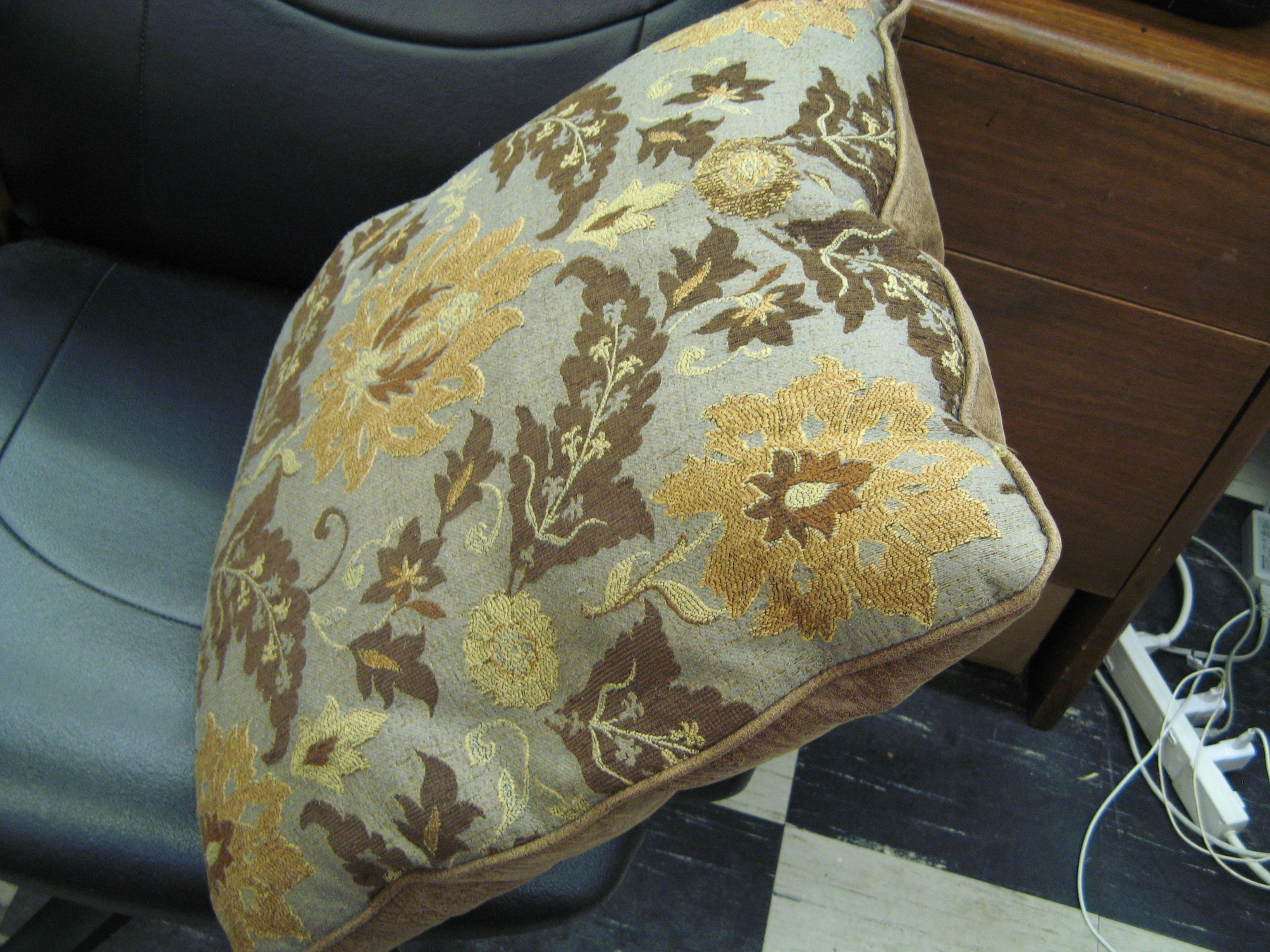 Large Throw Pillow with Leather Back