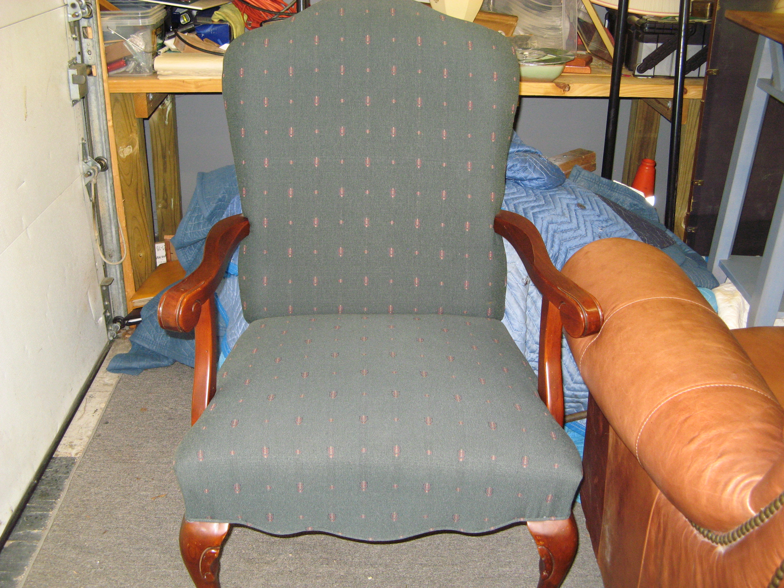 Upholstered Accent Chair with Wood Arms and Legs