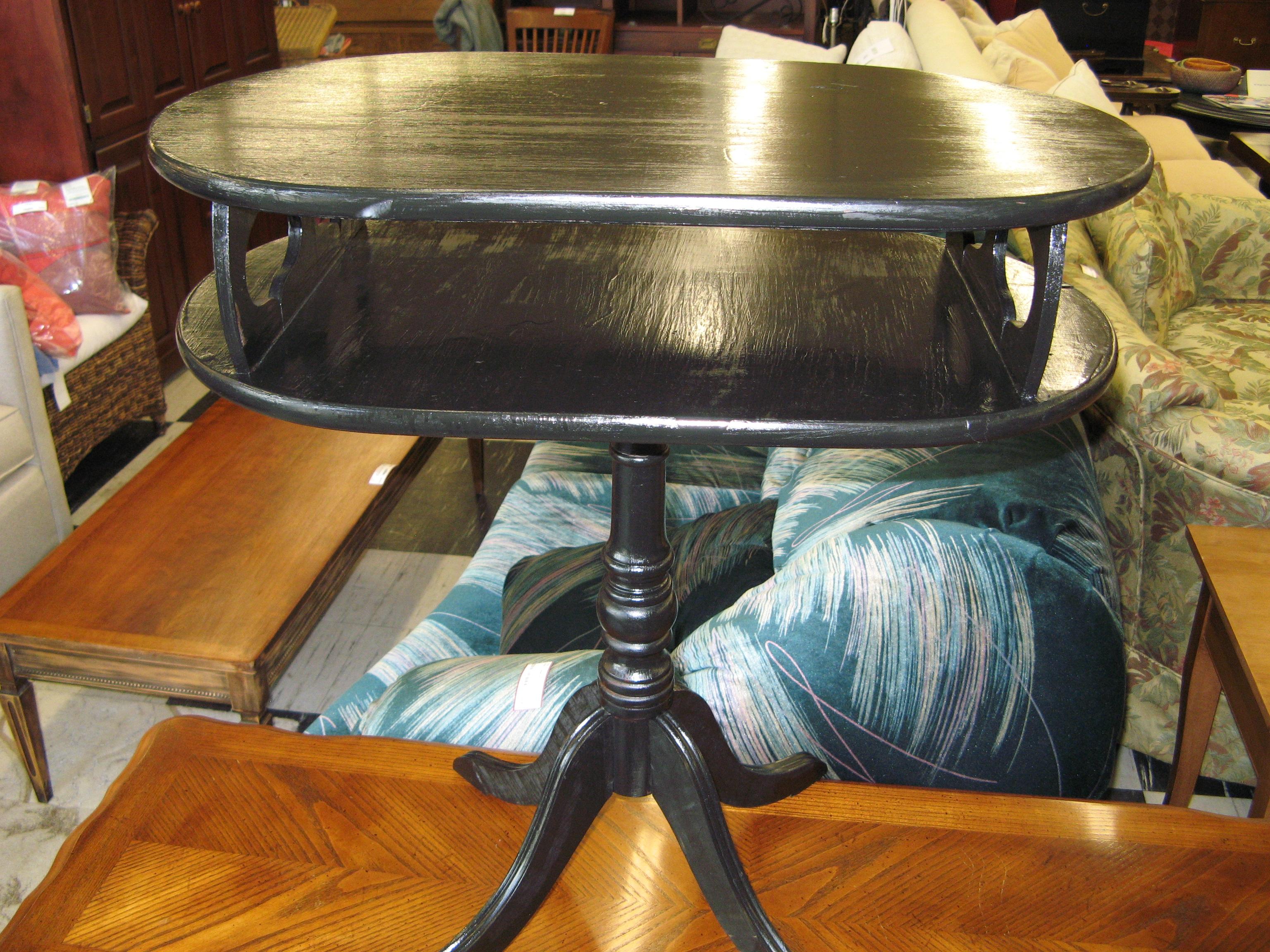 Black Painted Oval Side Table - Unique Vintage!