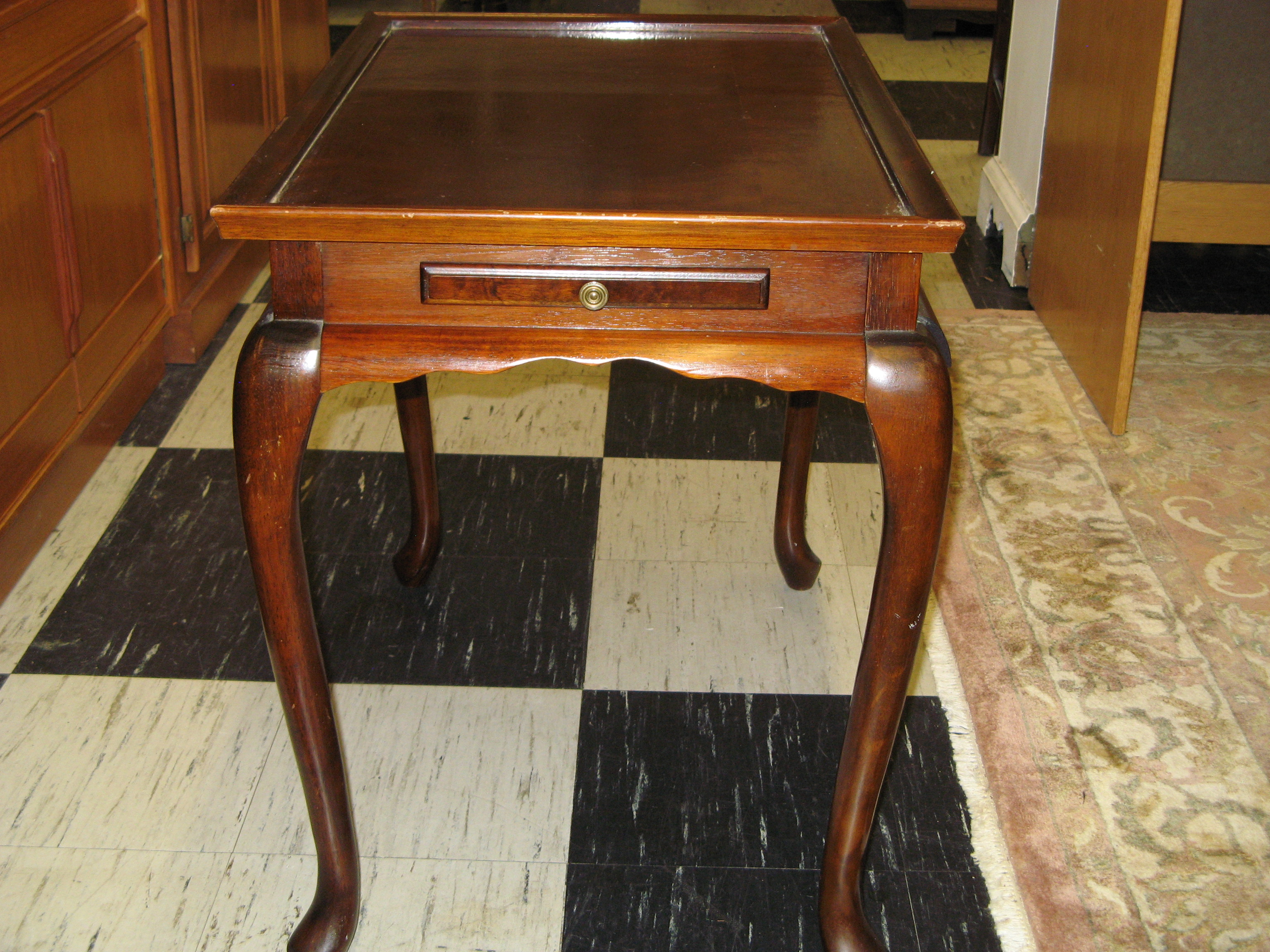 End Table with Tray Top, Pullout Writing Slates & Cabriole Legs