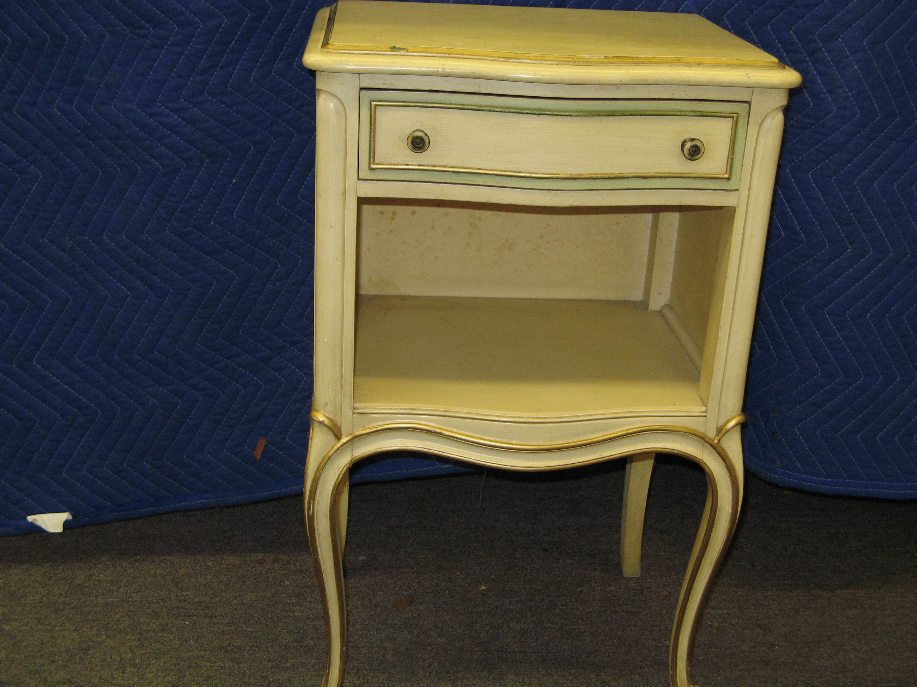 Drexel French Provincial Bedside Table with Curved Base & Legs, Cream