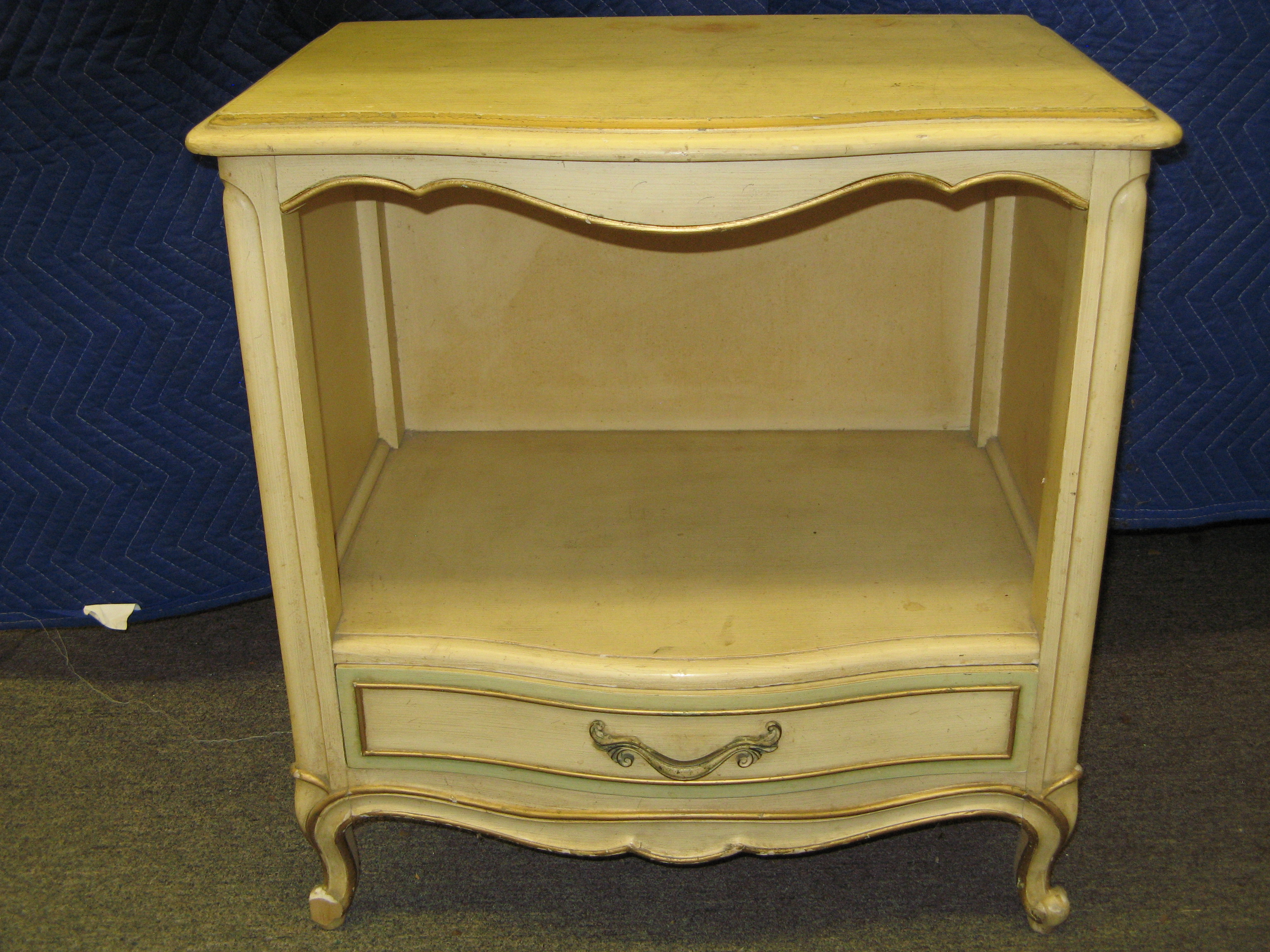 Drexel French Provincial Night Stand with Scalloped Wood Valance, Cream