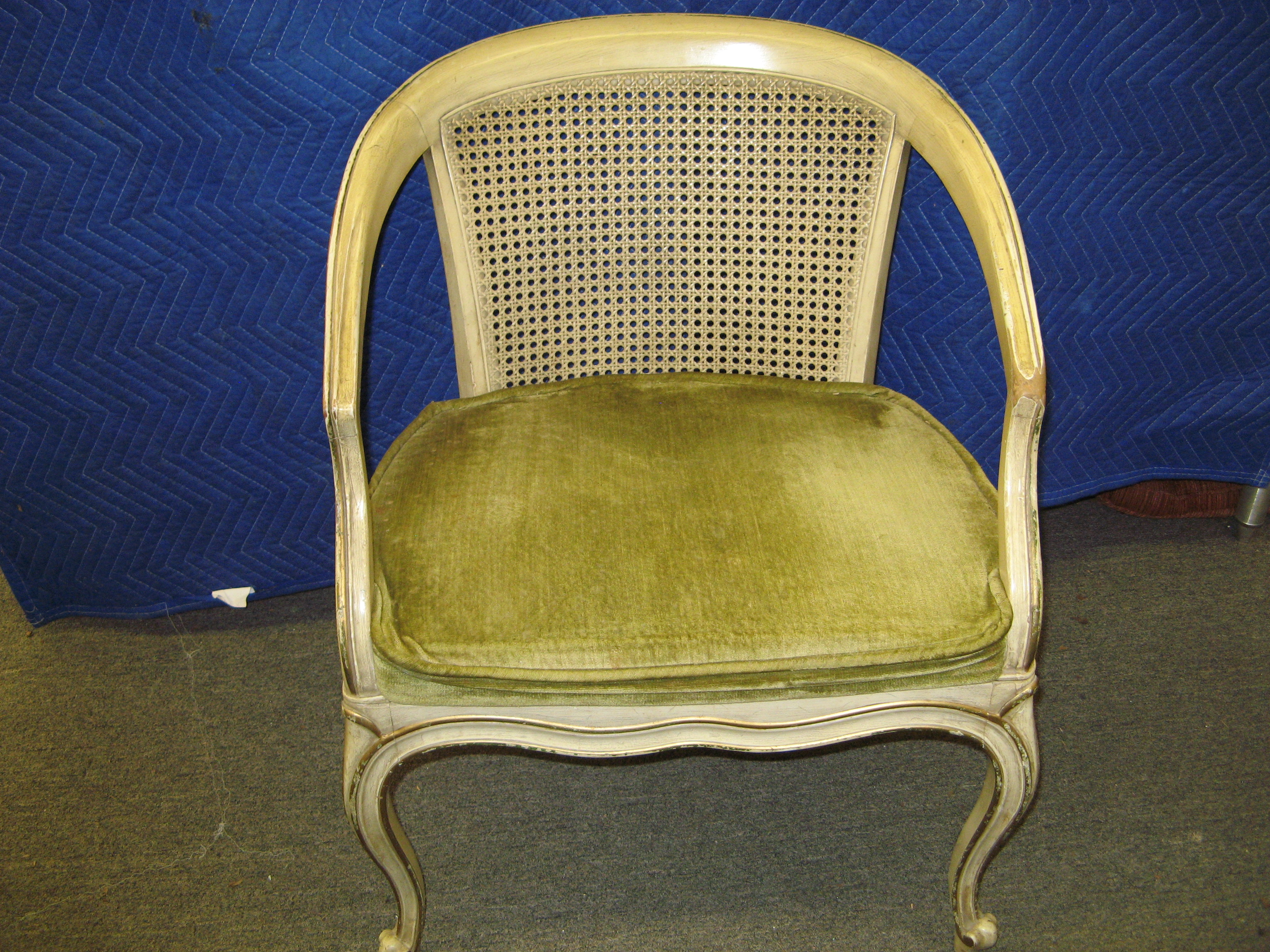 Drexel French Provincial Accent Chair with Cane Back & Seat Cushion, Cream