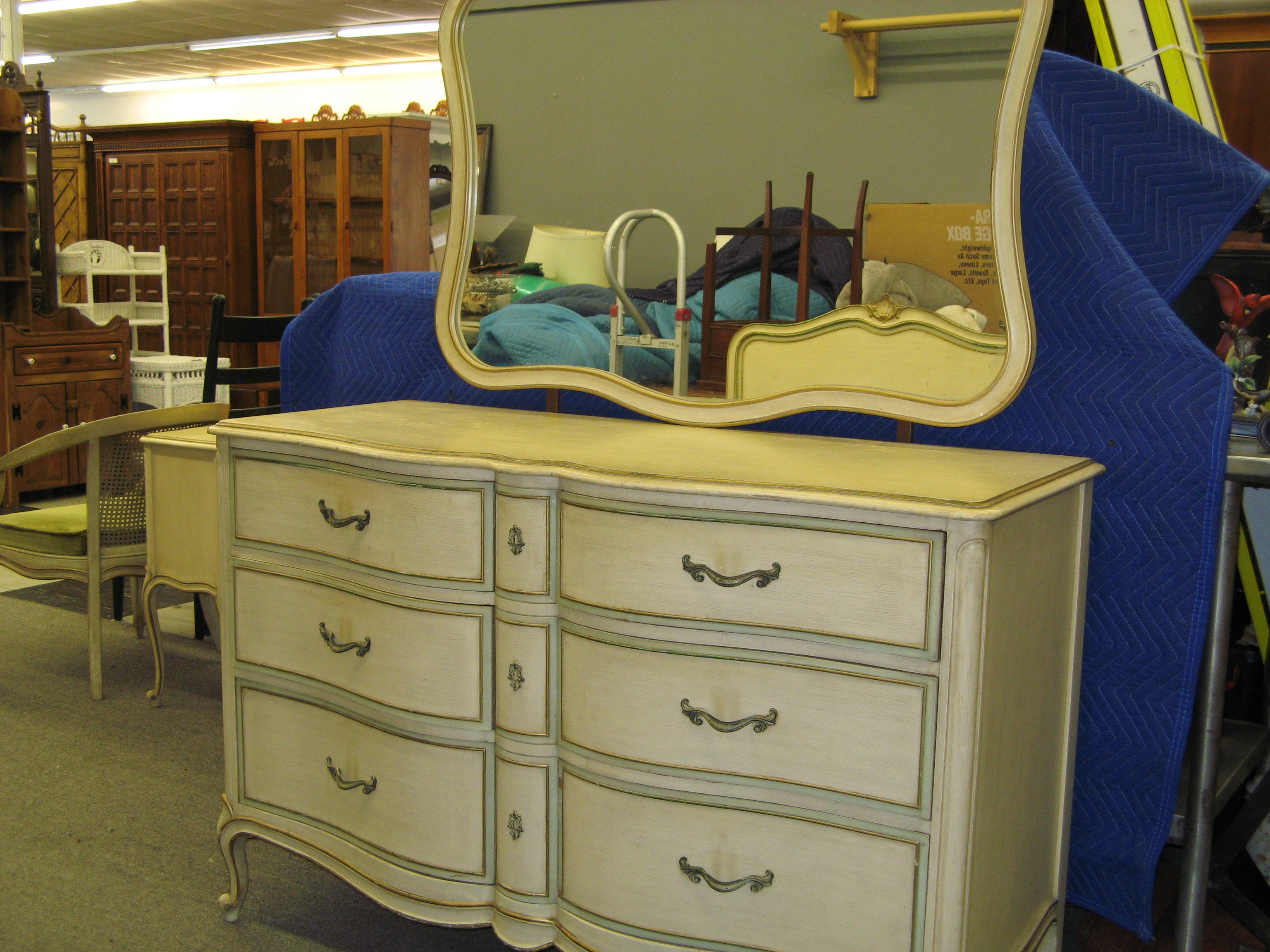 Drexel French Provincial Dresser with Serpentine Front, Cream. Matching Mirror.