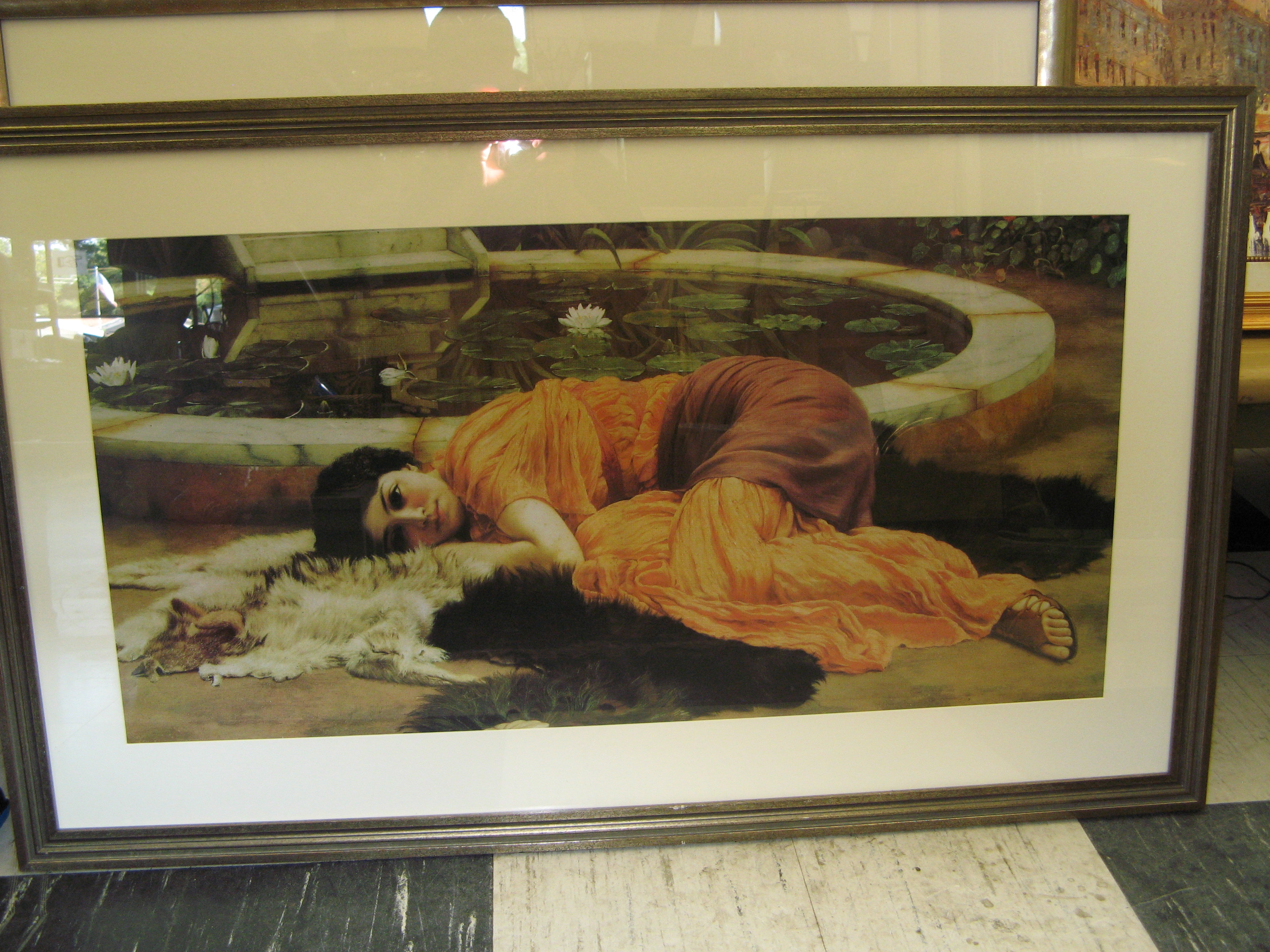 Print of Woman Lying at Rest on Furs, Framed