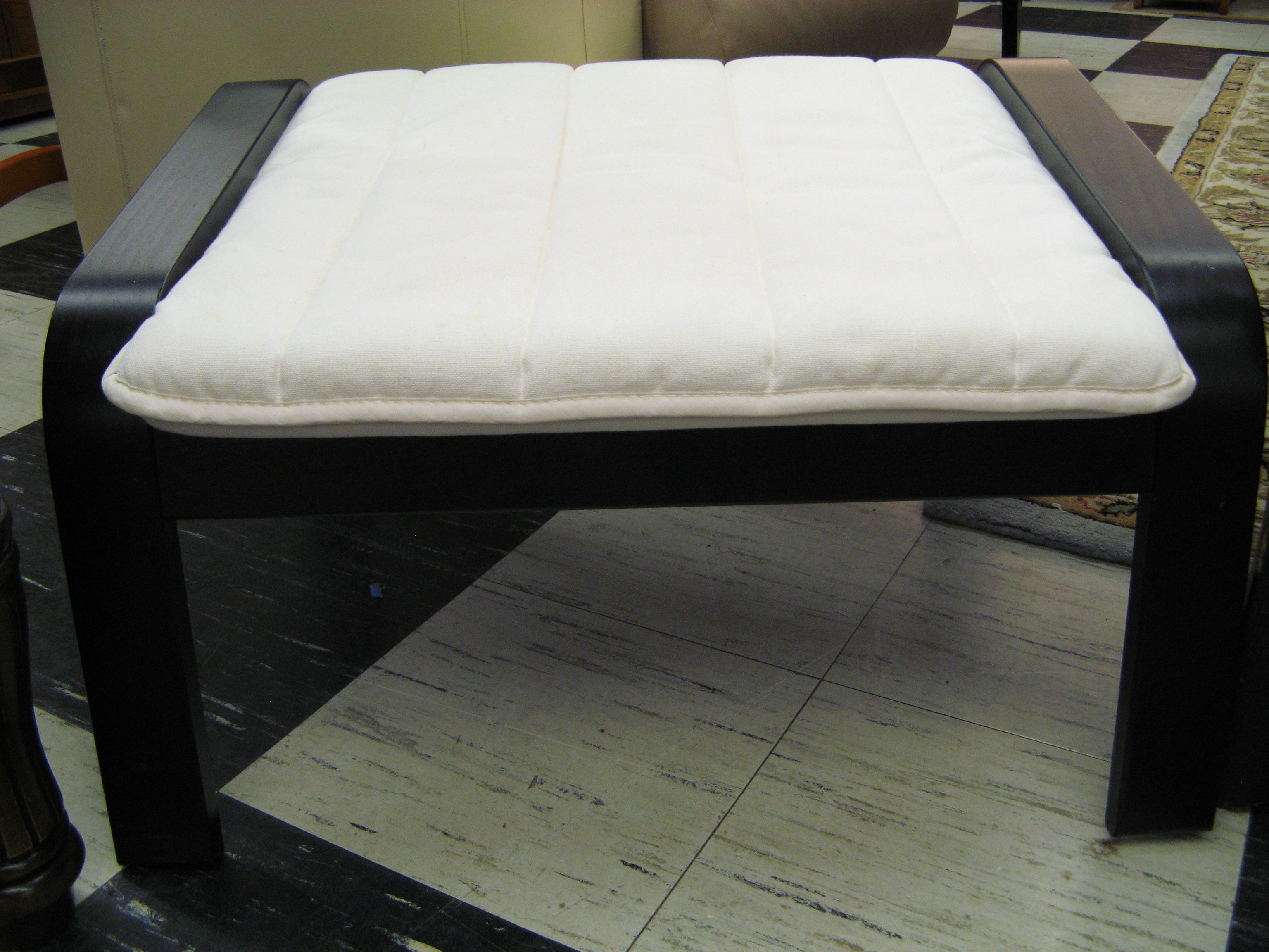 Black Ikea Footstool-Ottoman with White Cushion