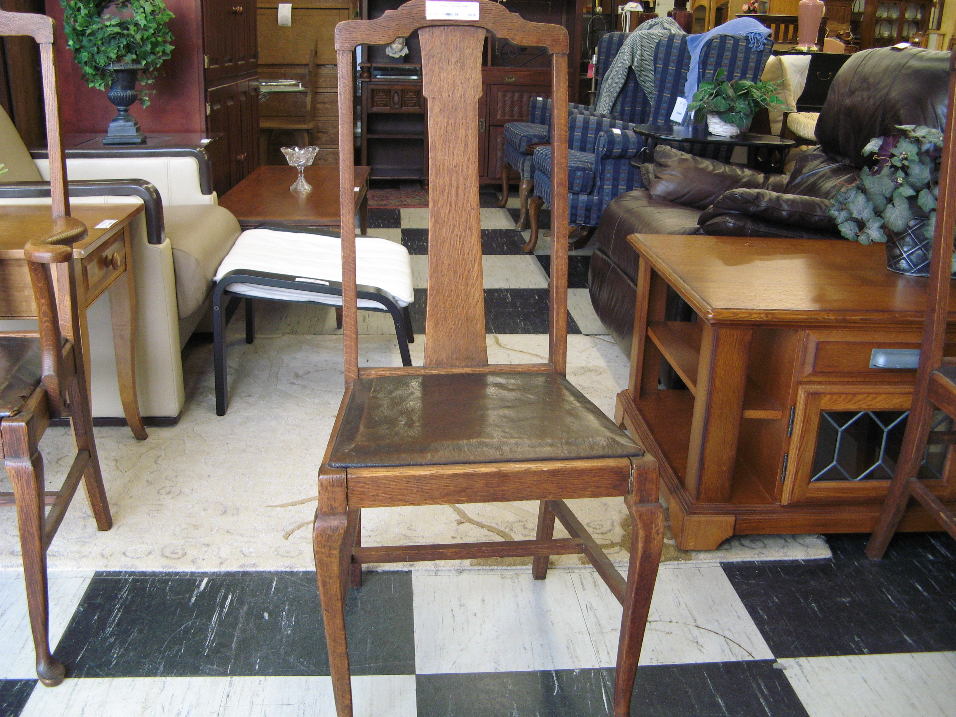 Antique Oak Dining Chair with Tall Back