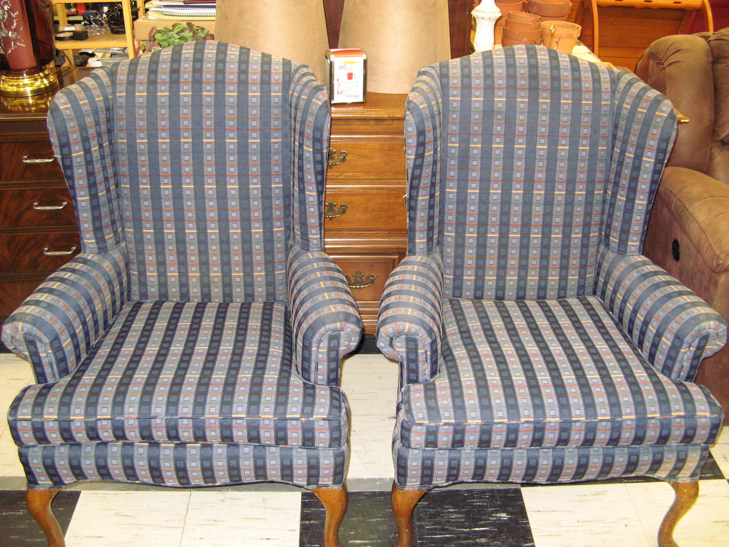Wing Back Chair with Stripe & Plaid Pattern Upholstery, Modern