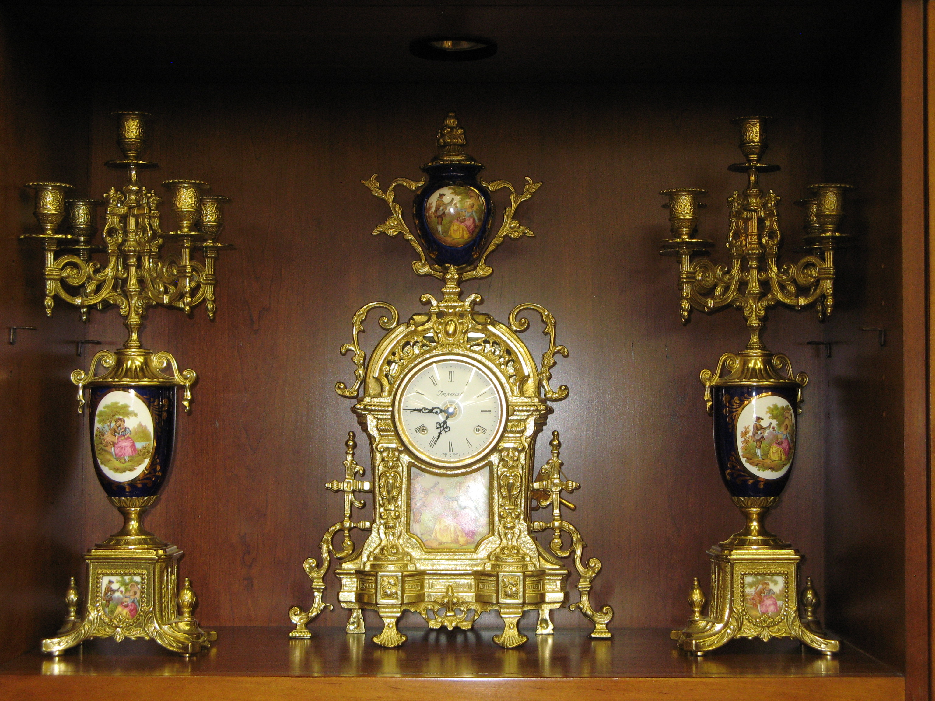 Imperial Mantle Clock & Candelabra Set (Made in Italy)