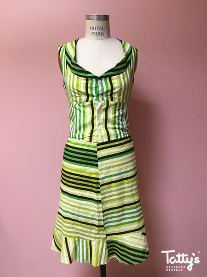 green white black stripes s ls cotton top and skirt 16848861d5bb4