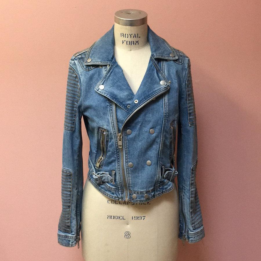 b2ad5b97c94 L sl contrast stitch z up denim moto jacket w embossed logo on back